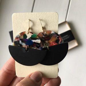 Nickel and Suede Black Leather Luna Earrings